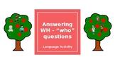 FREE No print / No prep- WHO questions activity - Teletherapy