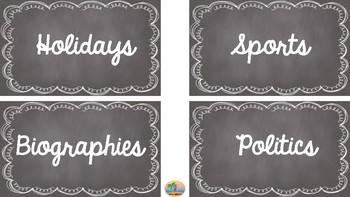 Nonfiction Labels (Chalkboard background) - FREEBIE!!