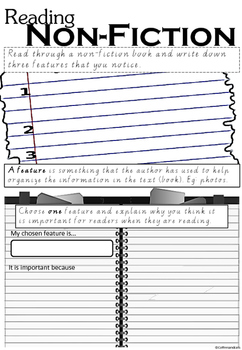 FREE Non-Fiction Text Features Writing Frame