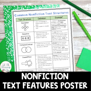 FREE Nonfiction Text Structures Anchor Chart