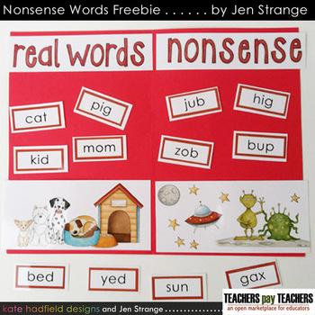 FREE! Nonsense Words / Real Words Sorting Activity - readi