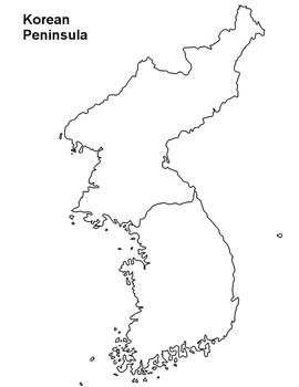 South Korea Map Outline FREE   North Korea and South Korea Map Outline by The Harstad