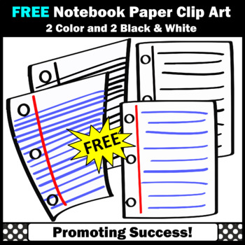 FREE Notebook Paper Clipart, Back to School Supplies Clip Art,  SPS