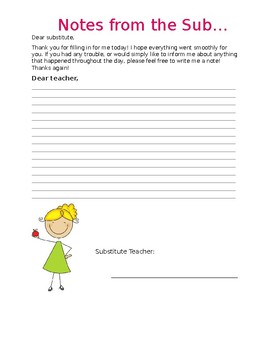 FREE Notes for your Substitute Teacher!