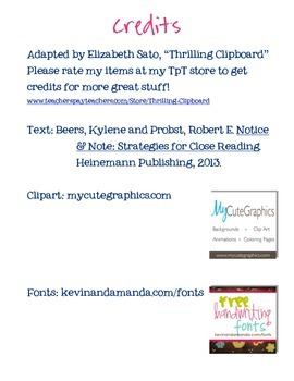 FREE Notice and Note Close Reading Log