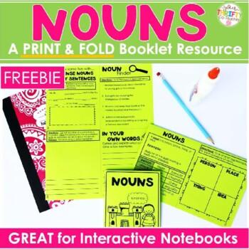 Nouns No Cut, Print & Fold Interactive Notebook Mini Book Resource FREE Sample