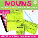 Nouns No Cut, Print & Fold Interactive Notebook Mini Book