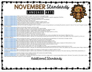 FREE November Lesson Plans for Kindergarten and First Grade - Thanksgiving