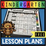 FREE November Lesson Plans for Kindergarten - Thanksgiving