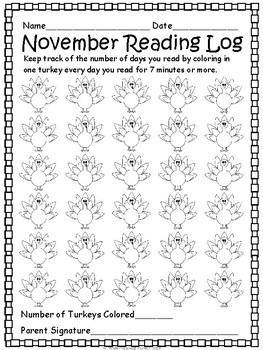 FREE November Reading Log- EDITABLE by Wilder Learning ...