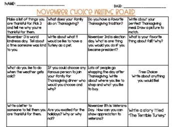 FREE November Writing Choice Board