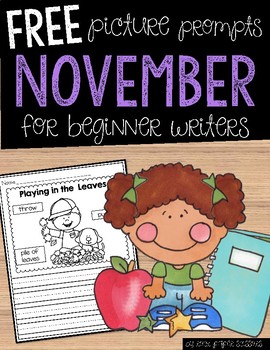 FREE November Writing Prompts for Beginning Writers