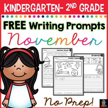 FREE November Writing Prompts for Kindergarten to Second Grade