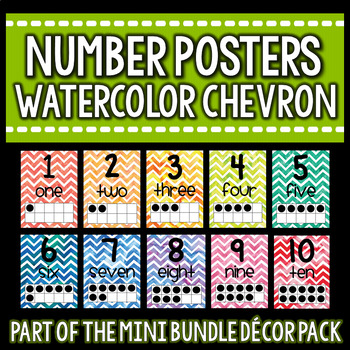 Number Posters- Free Sample Watercolor Chevron