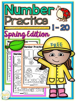 FREE Number Practice 1-20 Spring Edition