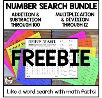 FREE Number Search Addition Subtraction Multiplication Division