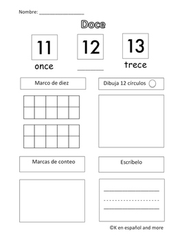 FREE Number Sense- Number 12 (Spanish only!)