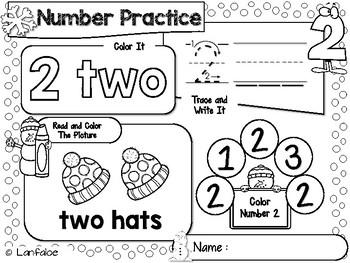 FREE Number Worksheet 1-20 Winter Activity