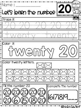 FREE Number Worksheets 1-20