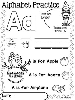 FREE Number and Alphabet Practice Winter Activity