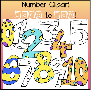 FREE Number clipart, color and B&W, personal or commercial use!