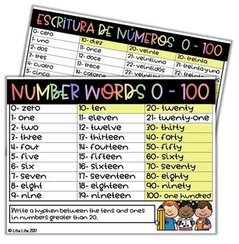 FREE Number words 1-100 English-Spanish