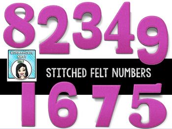 FREE Numbers and Math Symbols Stitched Letters Clip Art Set