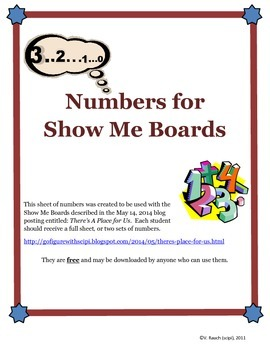 Numbers for Show Me Boards