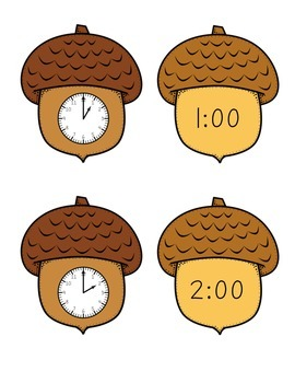 FREE Nutty Time - Acorn Telling Time to the Hour Math Center Game