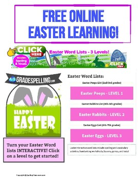 FREE ONLINE Easter Spelling & Vocabulary & Games 3 Levels