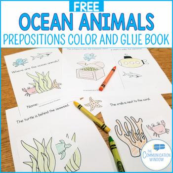 FREE Ocean Animal Spatial Concepts Cut and Glue Mini-Book