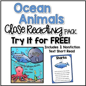 FREE Ocean Animals Close Read! Cuttin' It Close! {Kindergarten, 1st, 2nd & 3rd}