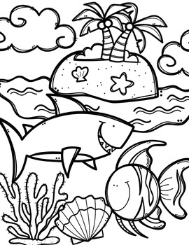 free ocean animals coloring book made by creative clips clipart. Black Bedroom Furniture Sets. Home Design Ideas