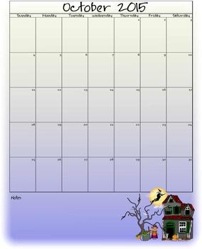 FREE October 2015 Calendar