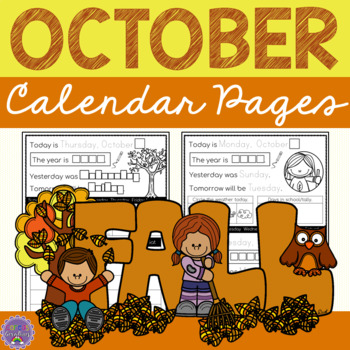 Printing Practice: October Calendar Pages for Grade One
