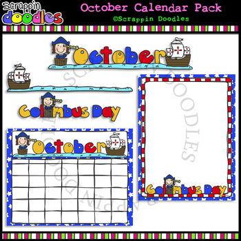 FREE October Classroom Calendar Pack