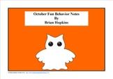 FREE October Fun Behavior Note