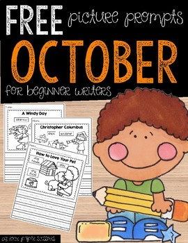 FREE October Picture Writing Prompts for Beginning Writers