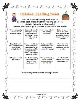 FREE October Spelling Menu for School or Homework