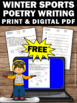 FREE Poetry Writing Worksheet, Winter Sports Theme