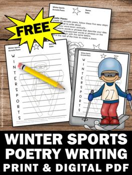 free poetry writing worksheet winter sports theme acrostic poem template. Black Bedroom Furniture Sets. Home Design Ideas