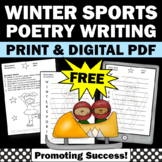 FREE Poetry Writing Worksheet, Winter Sports Theme, Acrost