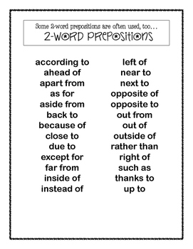 FREE One and Two-Word Prepositions Lists Printable