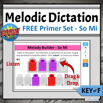 FREE Music Distance Learning Game | Melodic Dictation Key of F, Primer - So Mi