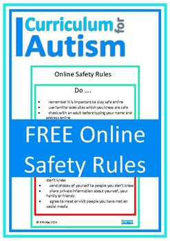 Autism, Online Safety Rules Poster, Middle & High School Special Education