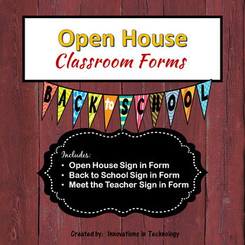 FREE Open House, Back to School, Meet the Teacher Sign In Forms