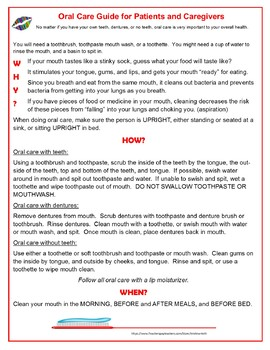 FREE Oral Care Guide for Patients and Caregivers, 1 page caregiver handout