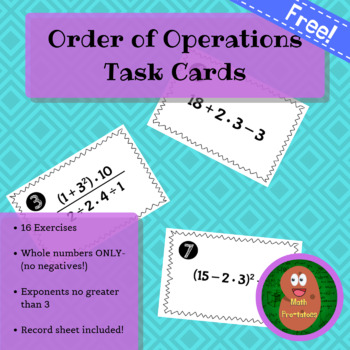 FREE! Order of Operations Task Cards (All Whole Numbers, No Negatives)