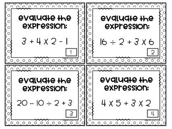 Order of Operations Task Cards FREE