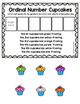 FREE Ordinal Number Cupcakes Practice Page